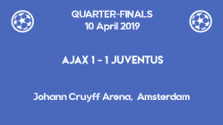 Ajax vs Juventus 1-1 in the first leg of the Champions League 2019 quarter-finals