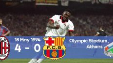 Milan scores 4 goals against Barcelona during the 1994 Champions League final