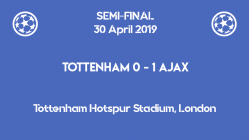 Tottenham lost 0-1 to Ajax in the first leg of the Champions League 2019 semi-finals