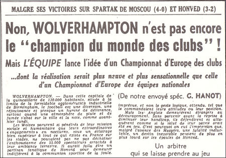 Extract from lequipe 15 December 1954 when Hanot proposed the creation of a European Cup