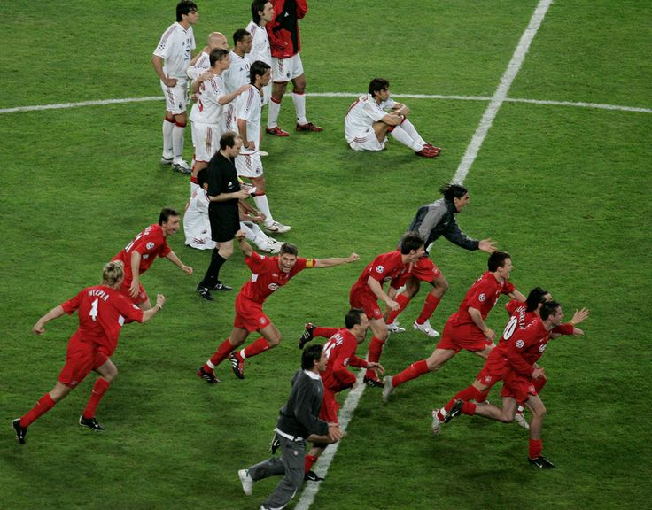 Liverpool celebrates after Shevchenko missed the penalty for Milan