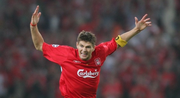 Steven Gerrard is rallying the team to the victory in the Champions League 2005 final at Istanbul