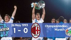 Champions League final between Marseille and Milan in 1993