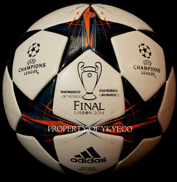 The Adidas Finale Lisbon Ball used during The Champions League 2013 2014 final won by Real Madrid