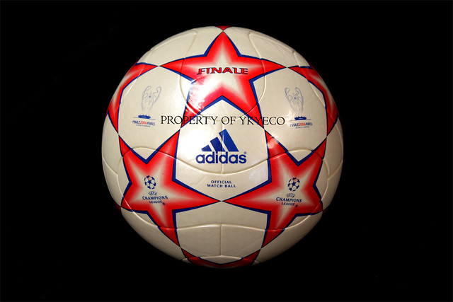 The Adidas Finale Paris Ball used during The Champions League 2005-2006 final when Barcelona got the trophy